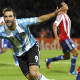 Argentina's Gonzalo Higuain (L) celebrates after scoring his team's second goal as Paraguay's Paulo Da Silva (R) reacts during their World Cup 2014 qualifying soccer match in Cordoba September 7, 2012.          REUTERS/Enrique Marcarian (ARGENTINA - Tags: SPORT SOCCER)