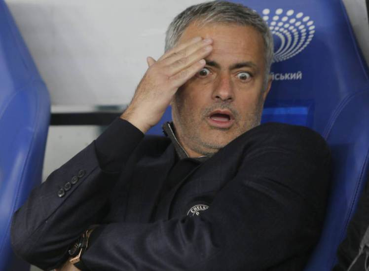 Chelsea manager Jose Mourinho reacts before the Champions League Group G soccer match between Dynamo Kiev and Chelsea FC in Kiev, Ukraine, Tuesday, Oct. 20, 2015. (AP Photo/Sergei Chuzavkov)